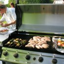 Kebabs and sausages on Barbecue
