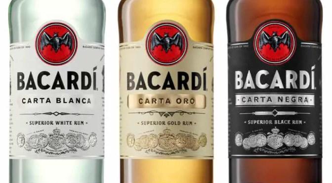 Bacardi white, gold, and black