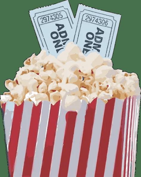 Movie tickets and popcorn