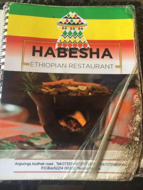 Habesha Restaurant Nairobi Menu - Front Cover