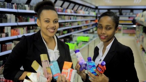 Attendants at S. H. Amon beauty store at Mlimani City
