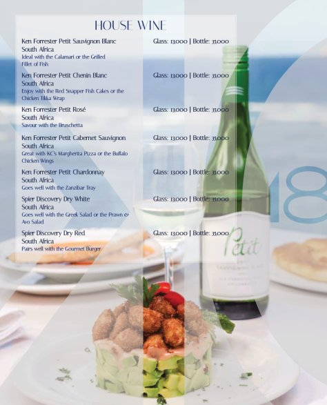 Karambezi drinks menu: House wines