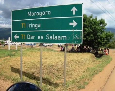 Morogoro Iringa Dar es Salaam Road Sign, Tanzania
