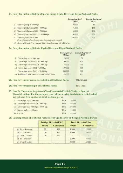 Mikumi National Park Fees 2021/2022: Vehicle & Aircraft related fees