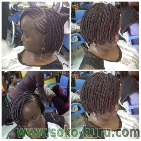 Latest hairstyles in kenya 2018: Bob braids with lines on the side (Can Be Done at Kenyan Hair Styles & Braids by Eva Nairobi)