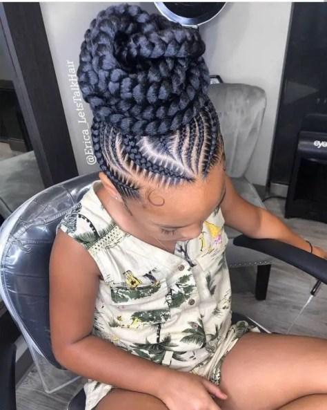 Child with Braids in a bun