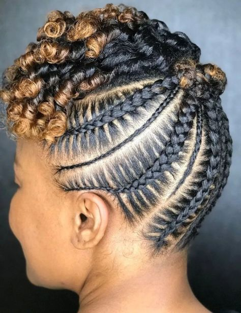 latest hairstyles for ladies in Kenya 2021: Mixed size cornrows with finger coil front
