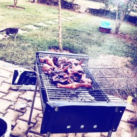 Barbecuing in Kampala, Uganda