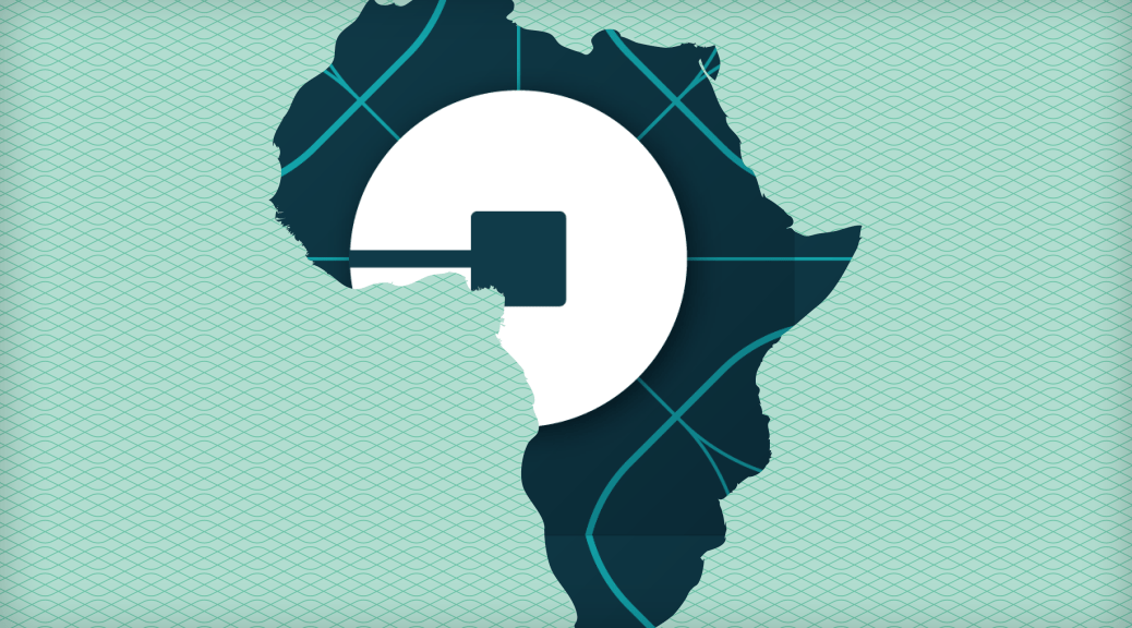 Uber Logo in Shape of Africa Map - Uber opened in Uganda and Tanzania in June 2016