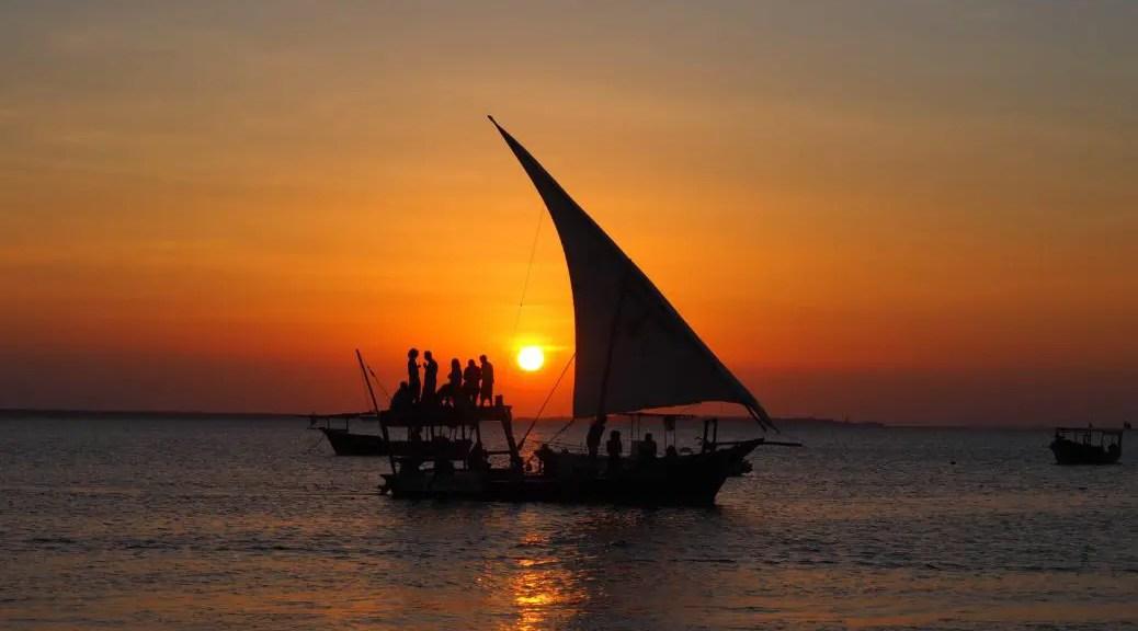 my blue hotel zanzibar: A dhow at sunset near Stone Town, Zanzibar, Tanzania