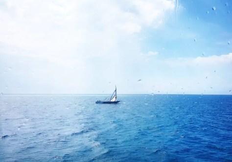 On the Way to Matemwe Hotels: Little Boat on the Indian Ocean, Zanzibar Channel