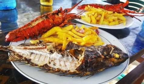 Fish, chips, and Lobster at Mbudya