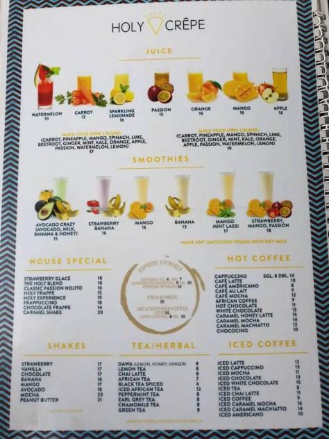 Holy Crepe Kololo menu soft drinks