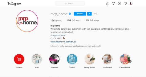 Mr Price Home Instagram Account for all countries including Kenya