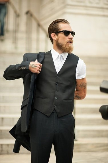 dark clothes are a perfect fit for the blonde bearded guy