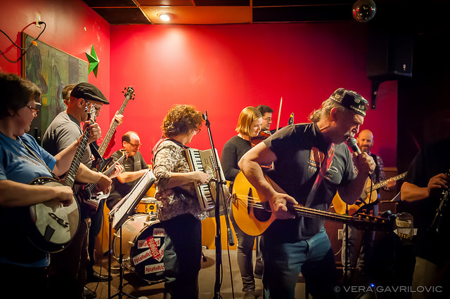 ChickenFat Klezmer Orchestra playing live at Independence Tap, photo by Vera Gavrilovic.