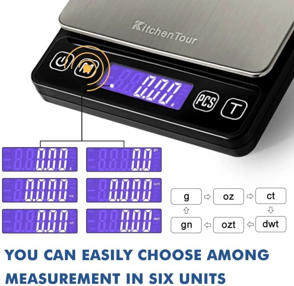 Precise Digital Kitchen Scale 500 g Weight Options