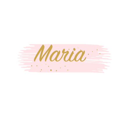 Maria in gold letters