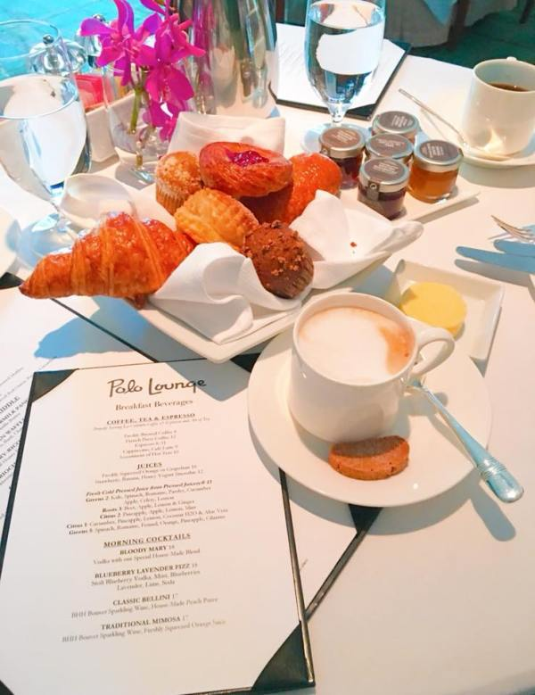 The Polo Lounge menu with a basket of pastries