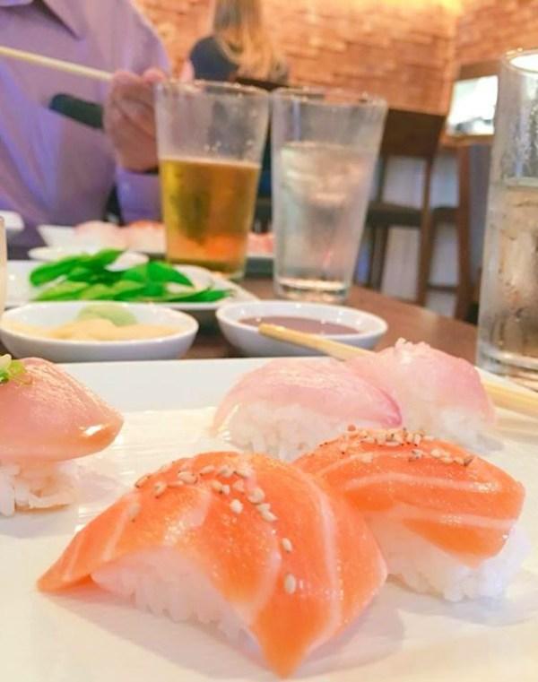 Single serving of salmon sushi