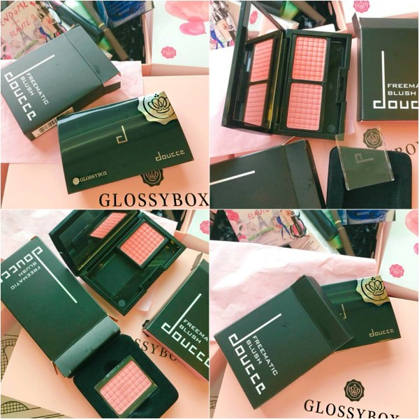 A collage of glossybox blush