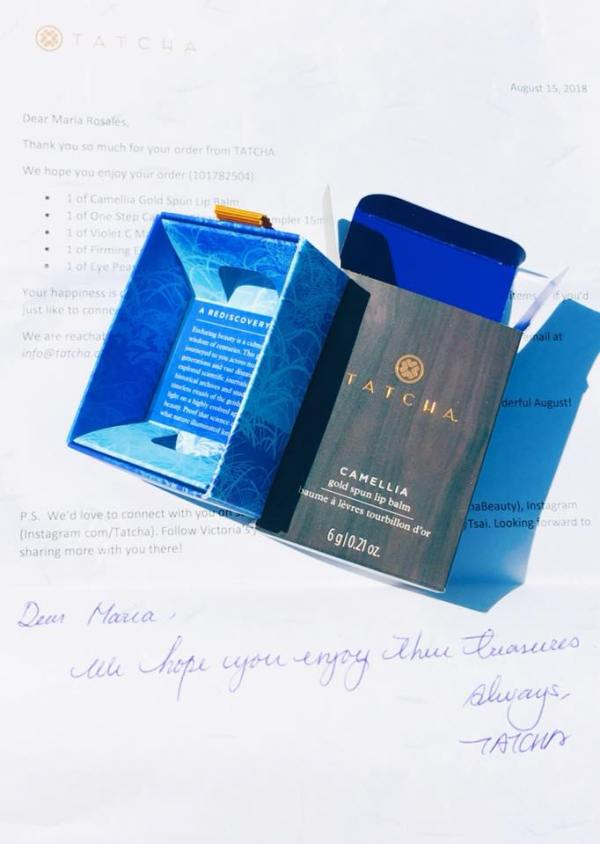 A Tatcha product box and welcoming letter