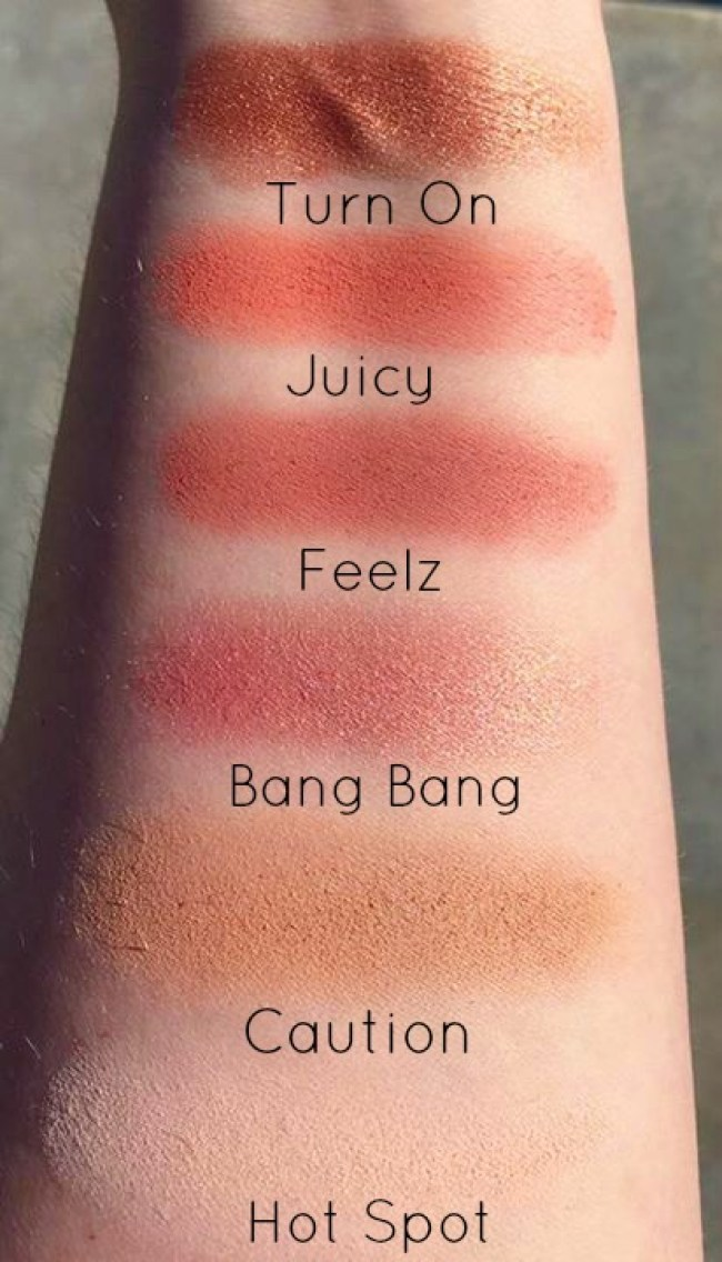 A swatching of eyeshadows