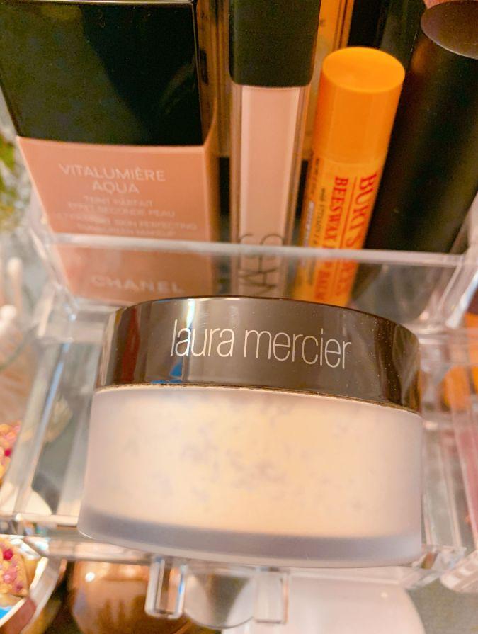 A jar of Laura Mercier transparent powder