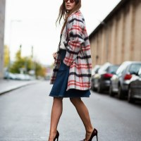 Ganni Mother Of Pearl Check Coat