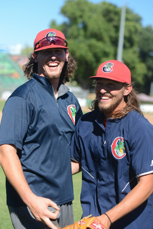 Ben Elder and Samson Abernathy played on the PV baseball team together in 2013 and 2014. The two are great friends and now play on the Chico Heat together. (Carin Dorghalli -- Enterprise-Record).