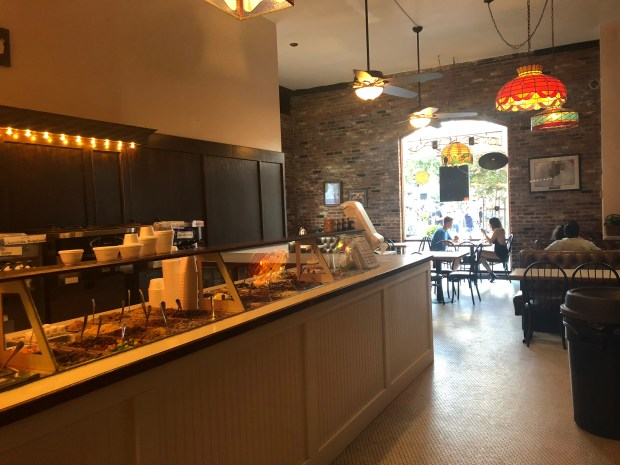 The back seating is the perfect place to come and enjoy your dessert. The big windows look out to downtown to let you sit and people-watch. Kendall George, Enterprise-Record)