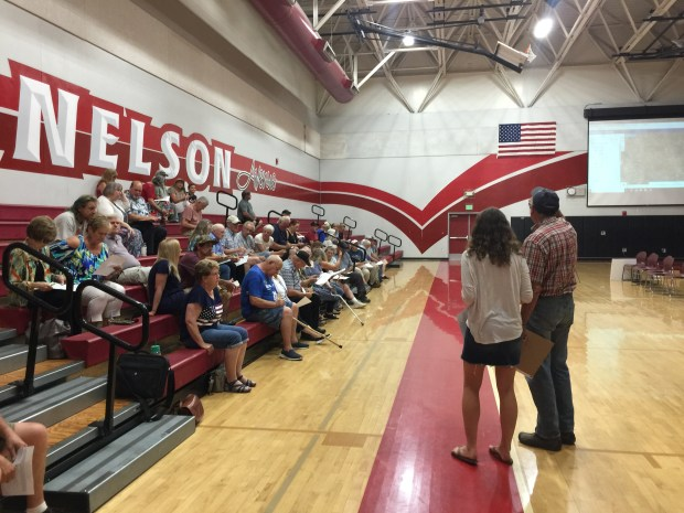 Attendees trickle in to a town hall meeting in Thermalito on June 12, 2018 to discuss a proposed transitional housing facility in the neighborhood. (Risa Johnson -- Chico-Enterprise Record)