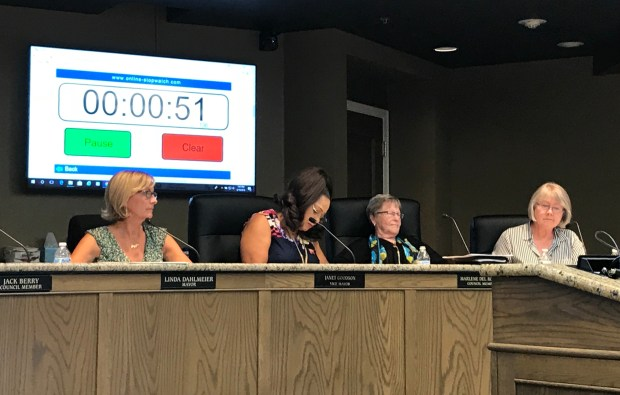 From left to right, Mayor Linda Dahlmeier, Vice Mayor Janet Goodson and councilors Marlene Del Rosario and Linda Draper listen to a member of the public speak about a proposed tax on cannabis businesses at a meeting on June 19, 2018. The council voted in favor of putting a tax measure on the ballot with a 5-1 vote. (Risa Johnson -- Mercury-Register)