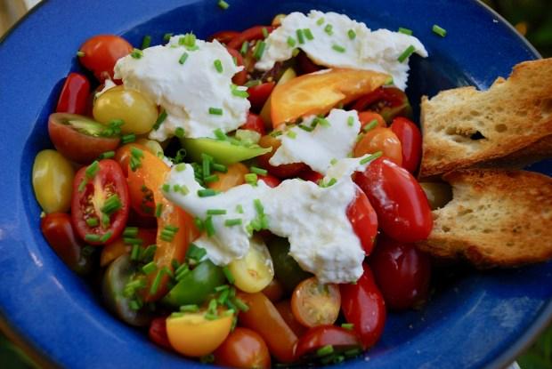 Marinated tomato and burrata cheese salad. (Photo by Nancy Lindahl)
