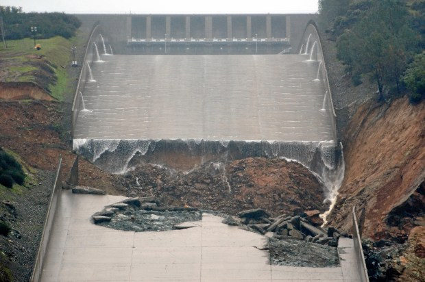 The hole in the main Oroville Dam spillway on Feb. 8, 2017, the day after it began to break up.