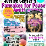 SUNDAY FUN FOR THE ENTIRE FAMILY! CPJC's PANCAKES FOR PEACE, APRIL 21ST, 8 AM.