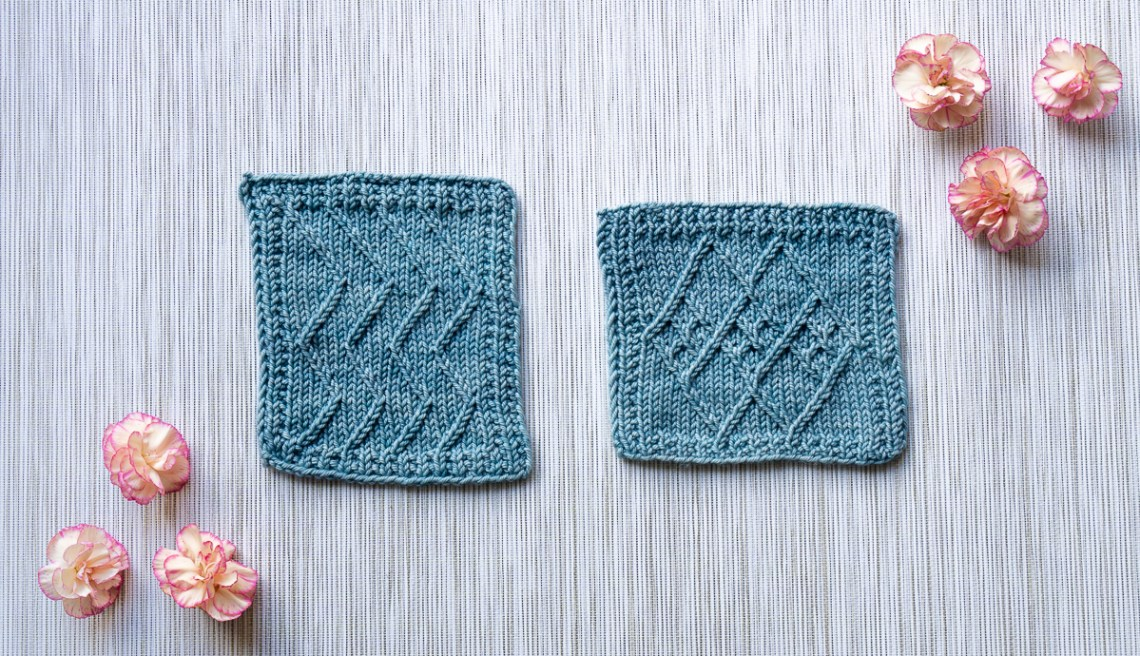 Sample swatches displaying twisted stitches