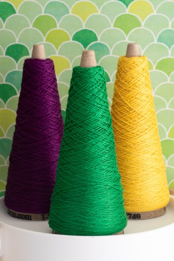 Purple, green and gold yarn.