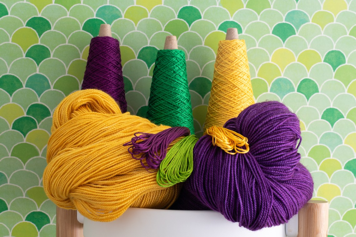 Purple, green and yellow yarn for Mardi Gras.