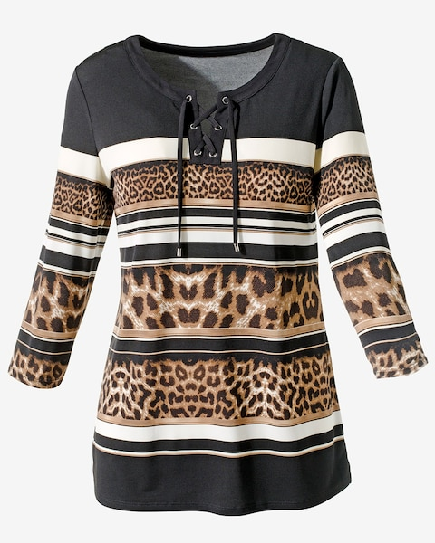 leopard and stripes lace up tunic