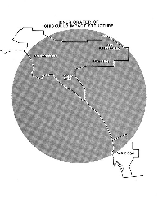 Chicxulub inner crater at the same scale as the Los Angeles - San Diego area
