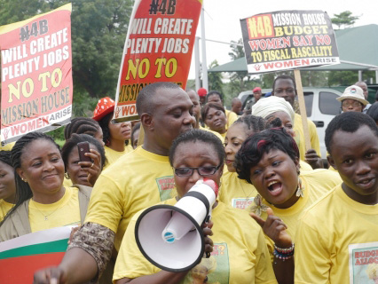 "Nigerian Women Protest $27ml 1st Lady Mission House, Call for Scrapping of ""First Lady"" Office"