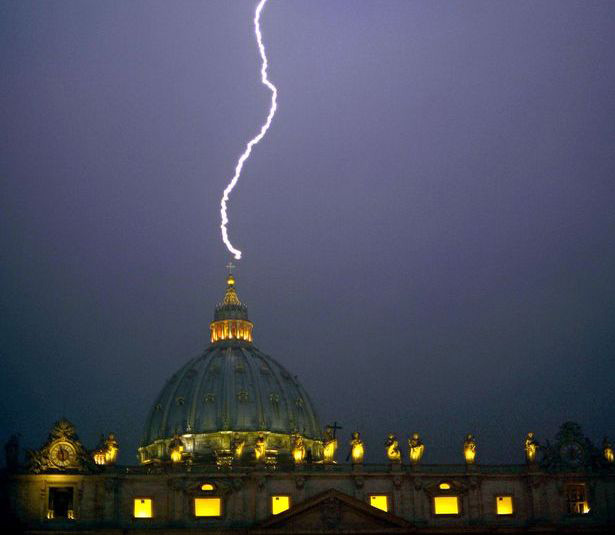 Lightning bolt hit Vatican not once but TWICE hours after Pope's shock resignation