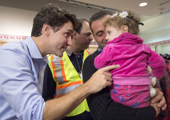 Canadian PM, Justin Trudeau, welcomes Syrian refugees to Canada with open arms