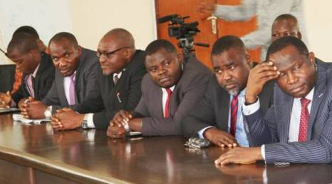 Jiti Ogunye (first right) and other lawyers during the visit to the EFCC