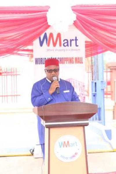 Chief F.M. Ogugua, Chairman of World Mart Shopping, giving his welcome address