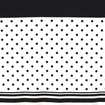 panneau de tissu en coton pois blanc sur fond noir