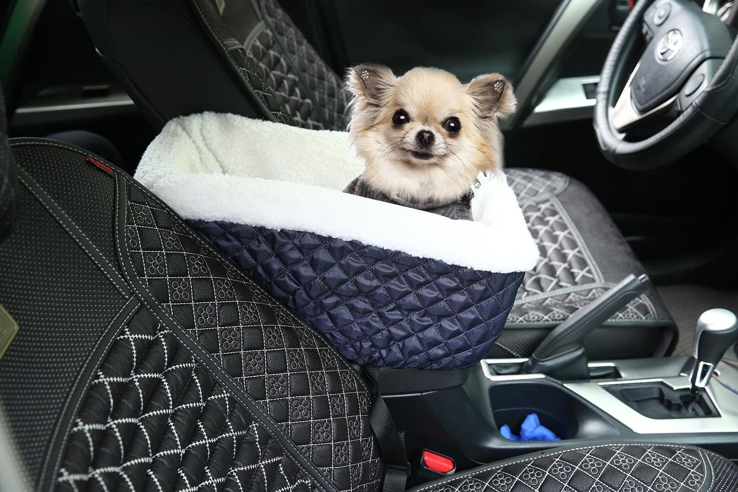 Meago Pet Dog Cat Console Car Seat Carrier With Safety Belt Booster For Small Pets