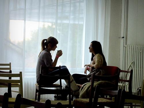 Two people talking