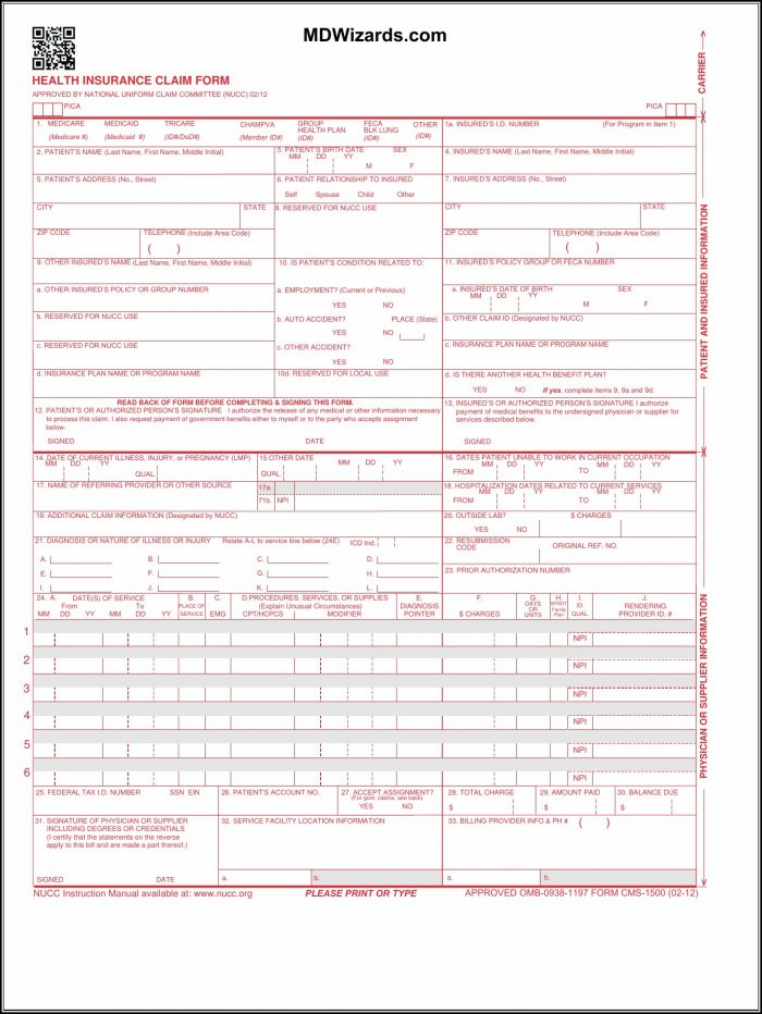 Hcfa 1500 Forms Free Download Form Resume Examples